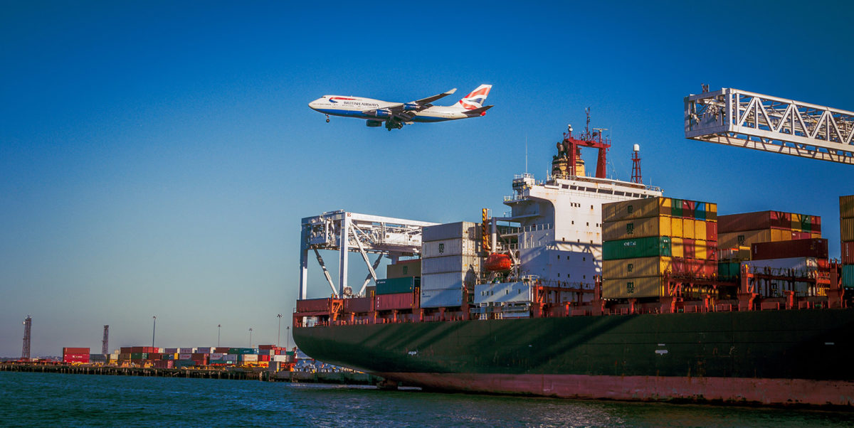plane and shipping container ship